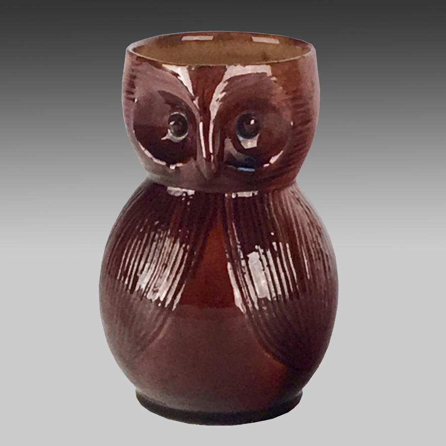Arts & Crafts pottery owl ale mug