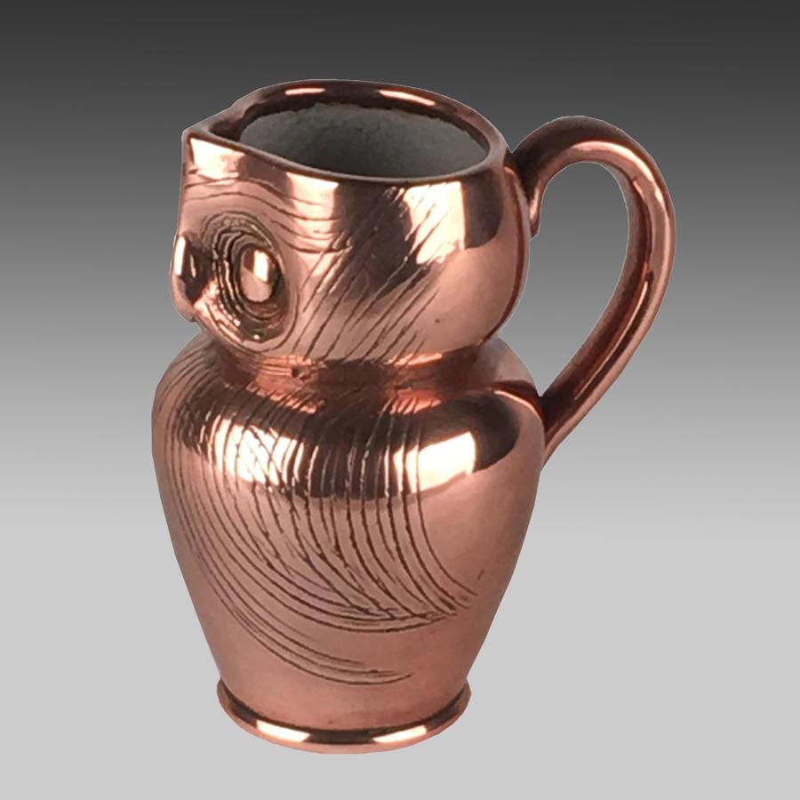 Arts & Crafts pottery owl ale jug