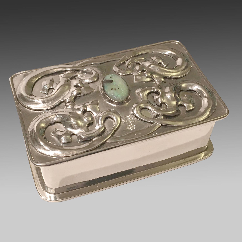 Sterling silver Art Nouveau box