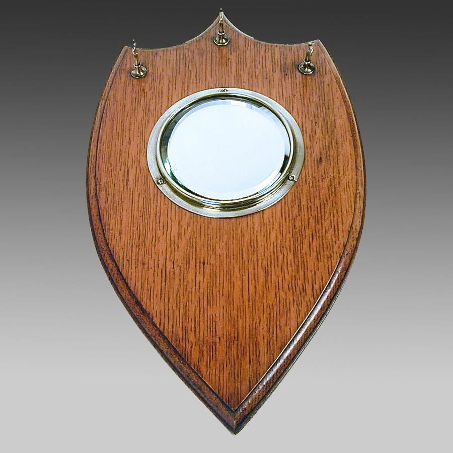 Edwardian oak cloakroom mirror