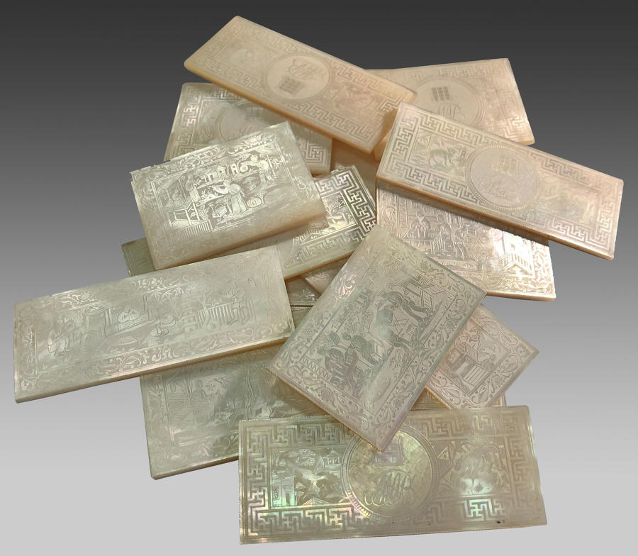 Chinese Export mother of pearl gaming counters
