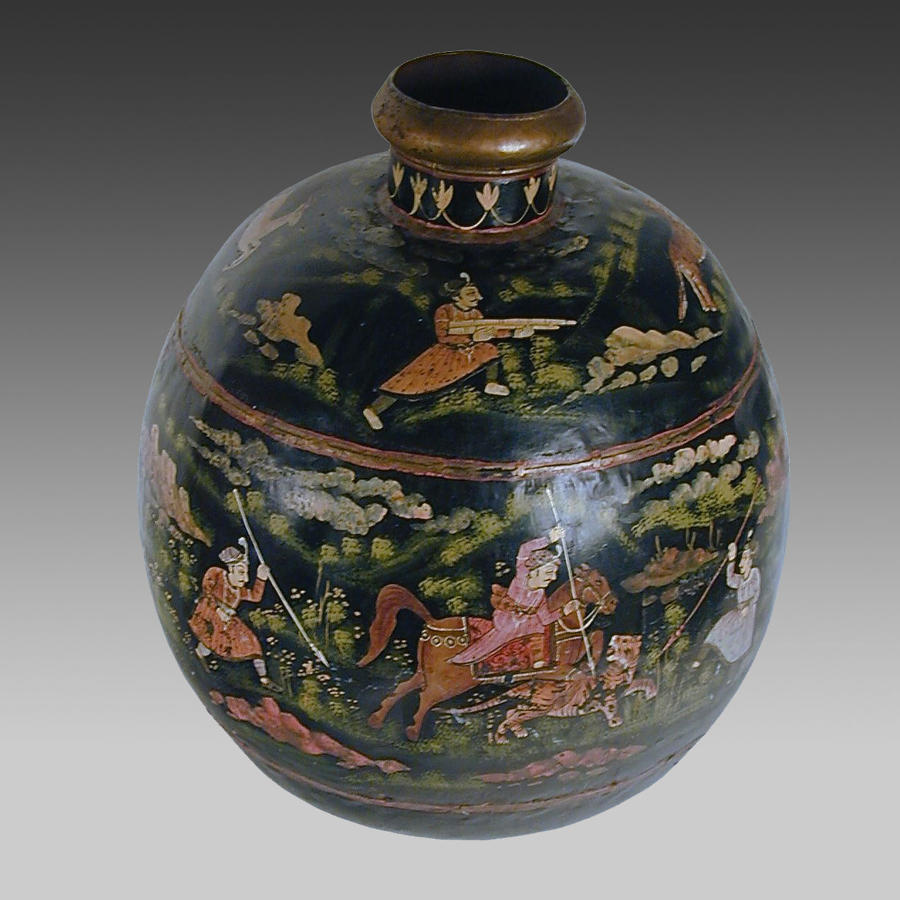 Indian painted toleware pot