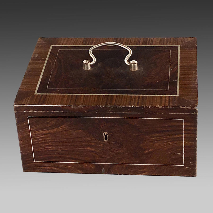 Late 19th century faux rosewood steel strong box
