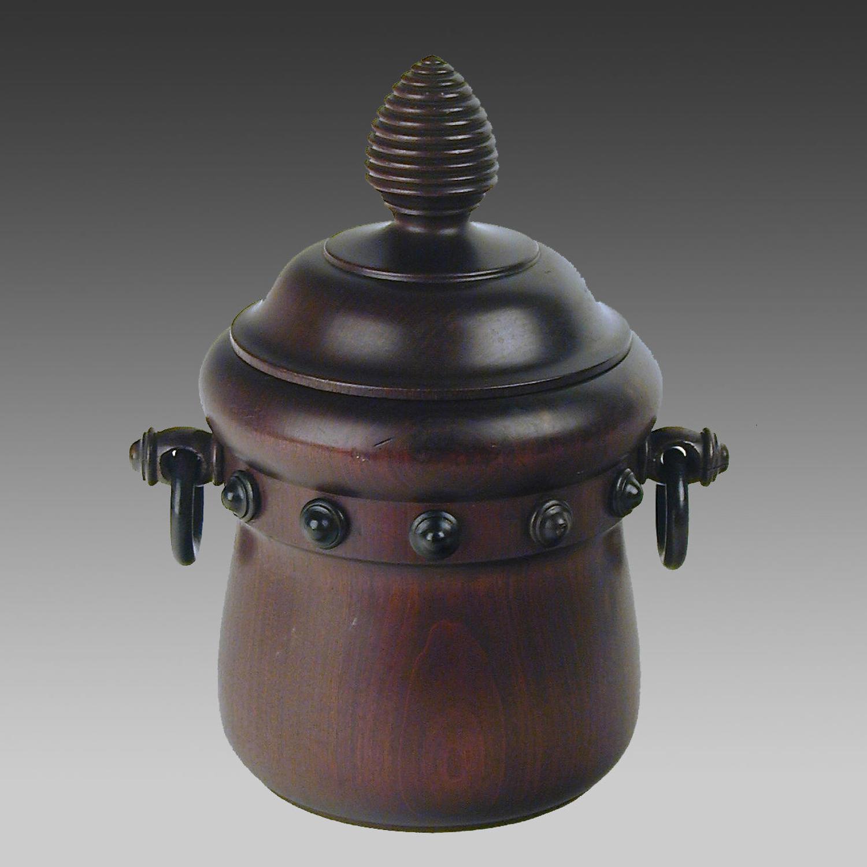 Antique mahogany biscuit barrel