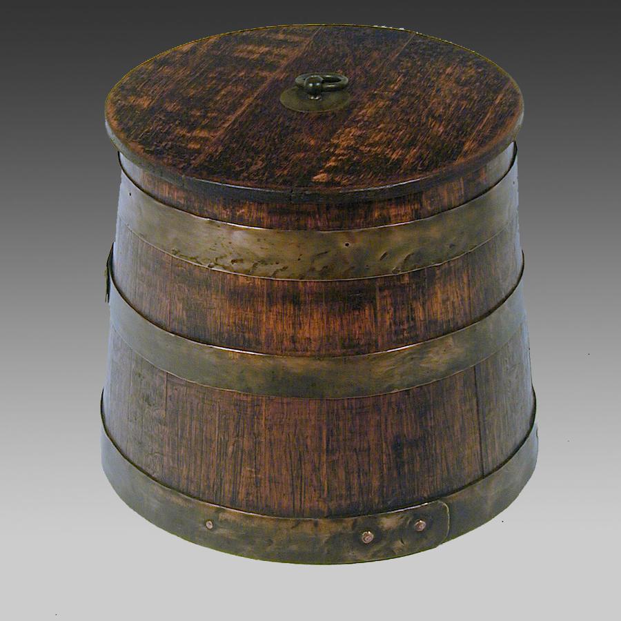 19th century oak, naval, lidded & coopered cask