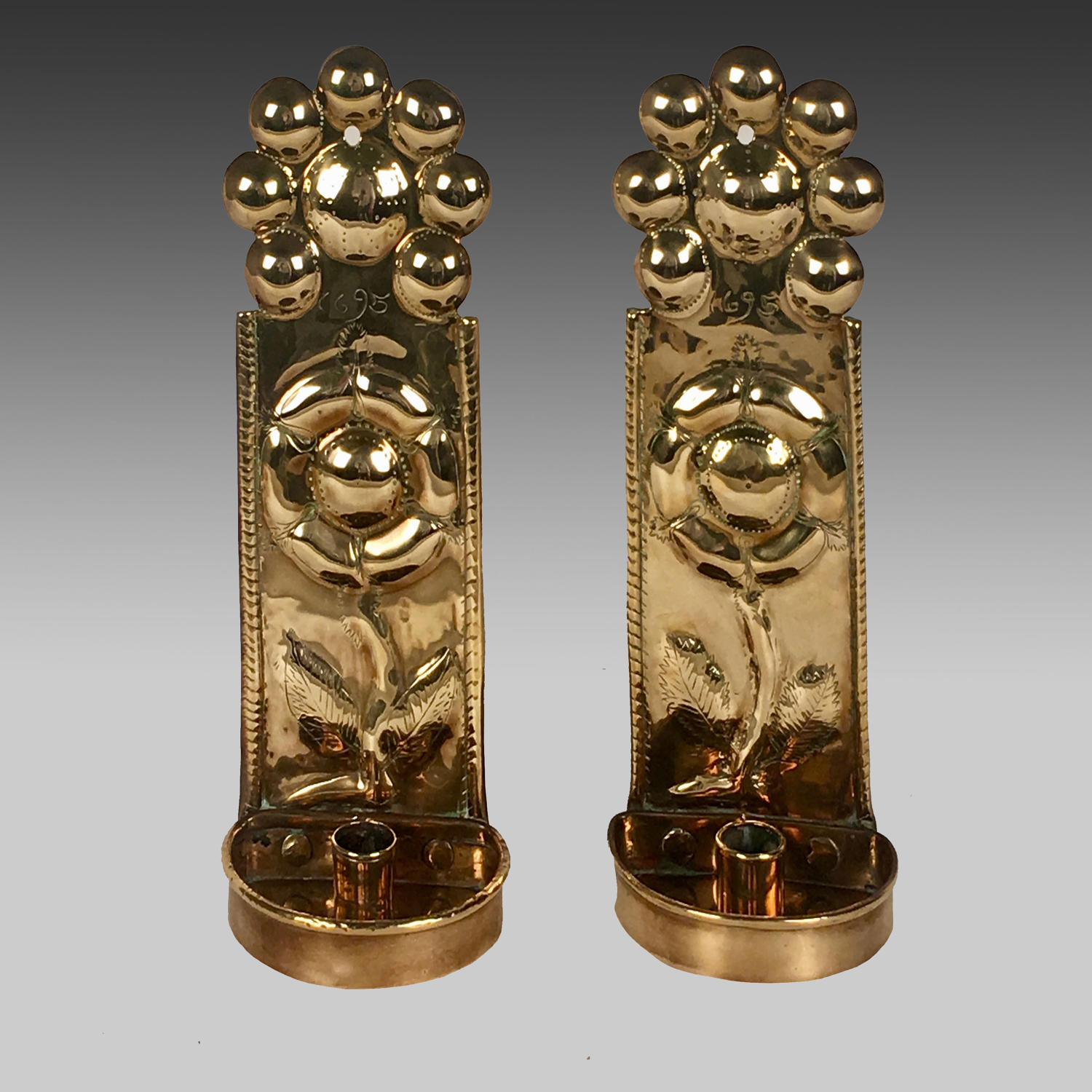 17th century pair of brass wall sconces