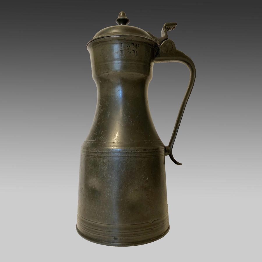 'Scots-Pint' pewter crested tappet hen tankard