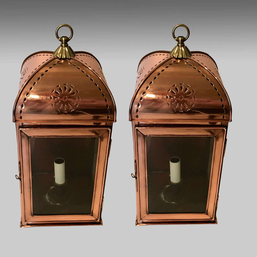 Pair of antique copper wall lanterns