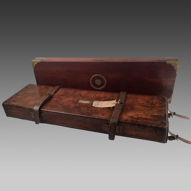19th century brass mounted mahogany gun case