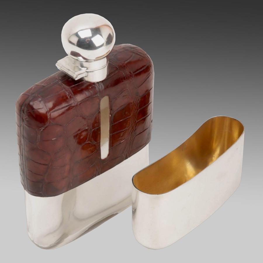 Vintage James Dixon silver & leather hip flask