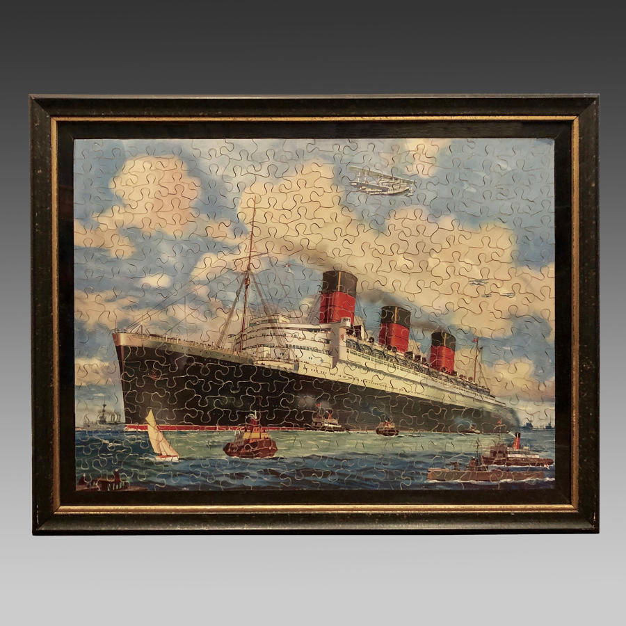 Vintage jigsaw puzzle of the passenger ship the 'Queen Mary'