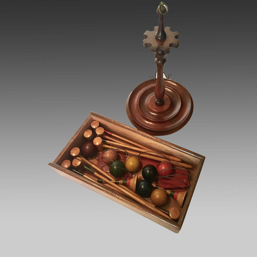 Antique miniature croquet set with stand