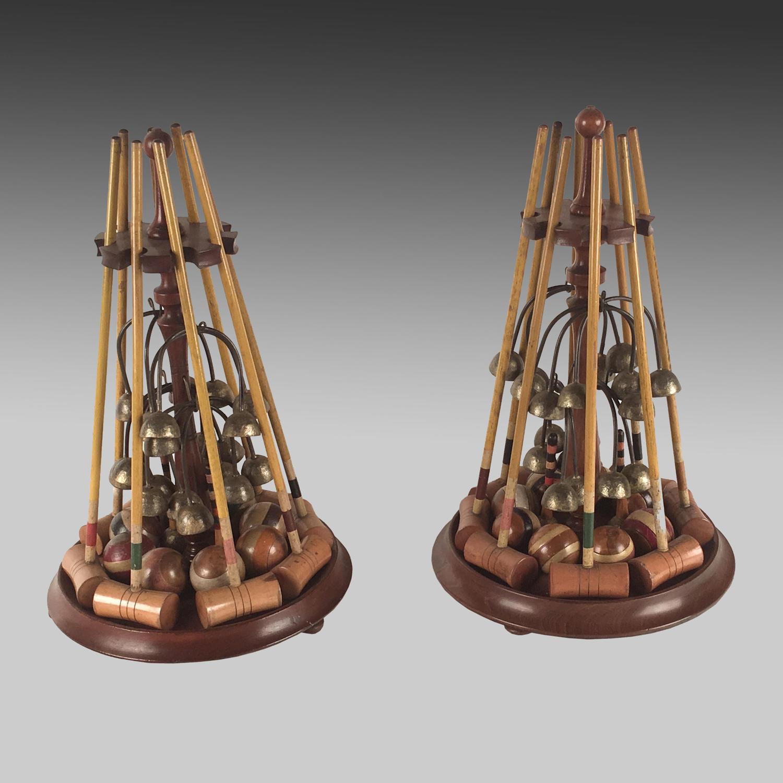 Pair 19th century miniature indoor croquet sets