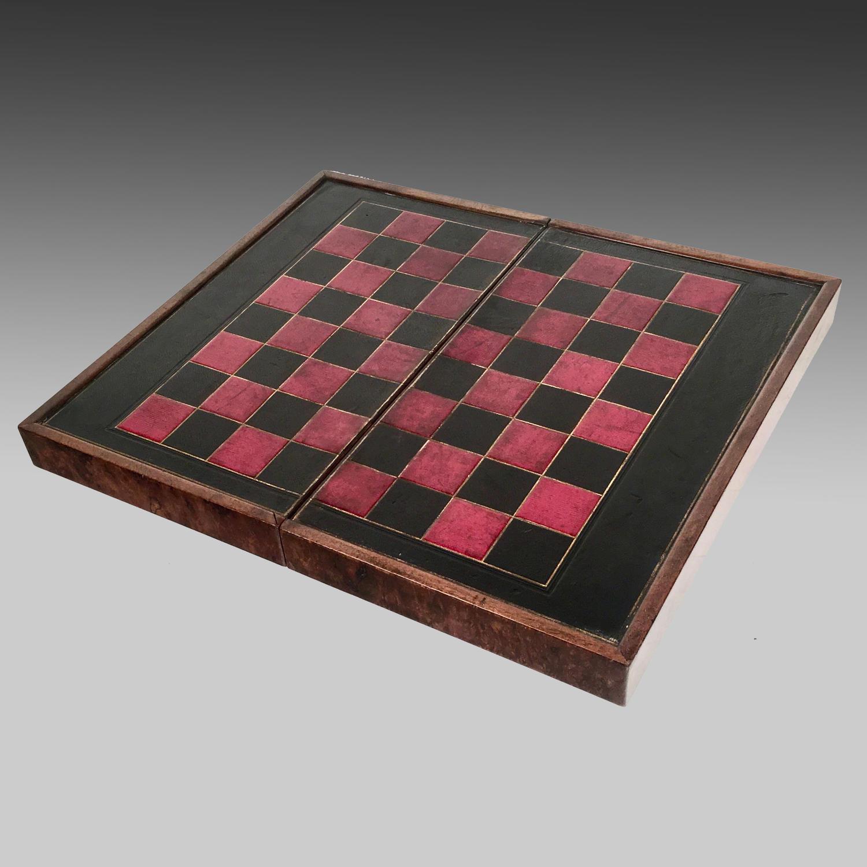 19th century walnut folding games board