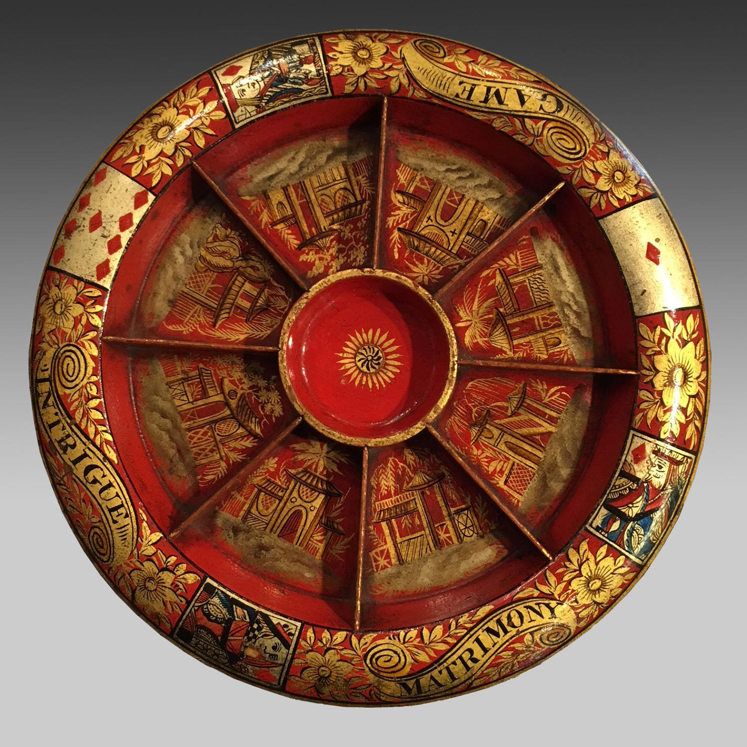 19th century red lacquer Pope Joan games board