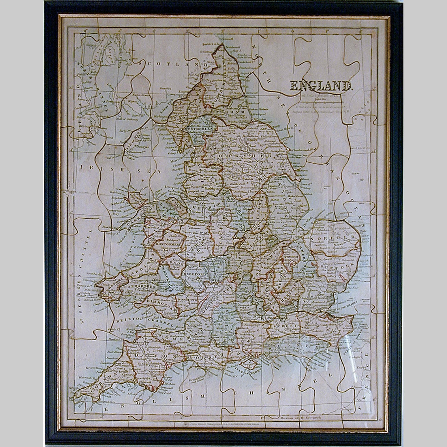 19th century boxed jigsaw dissection map of England