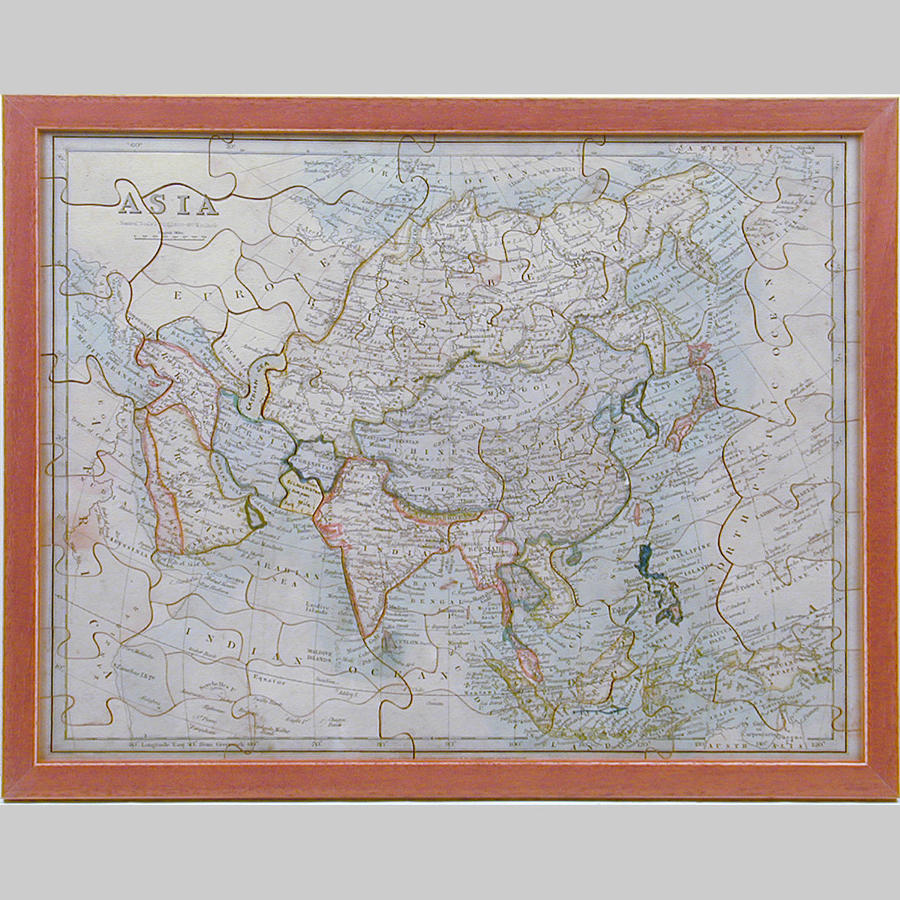 Boxed dissection jigsaw map of Asia by W.Peacock