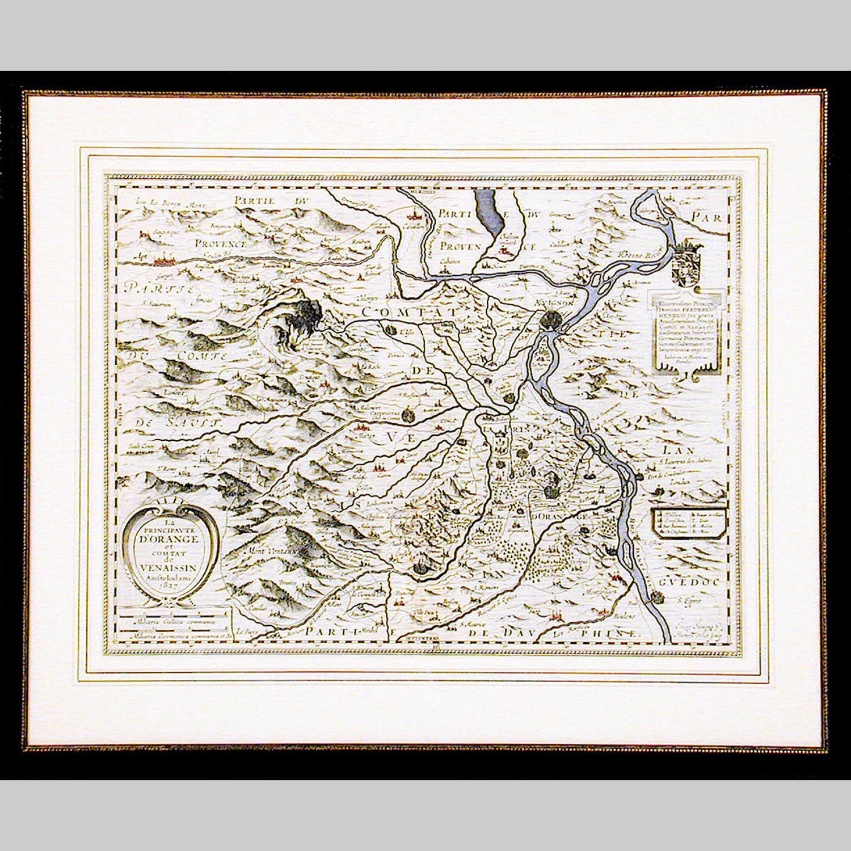 17th century Dutch map, engraving of La Principaute D'Orange