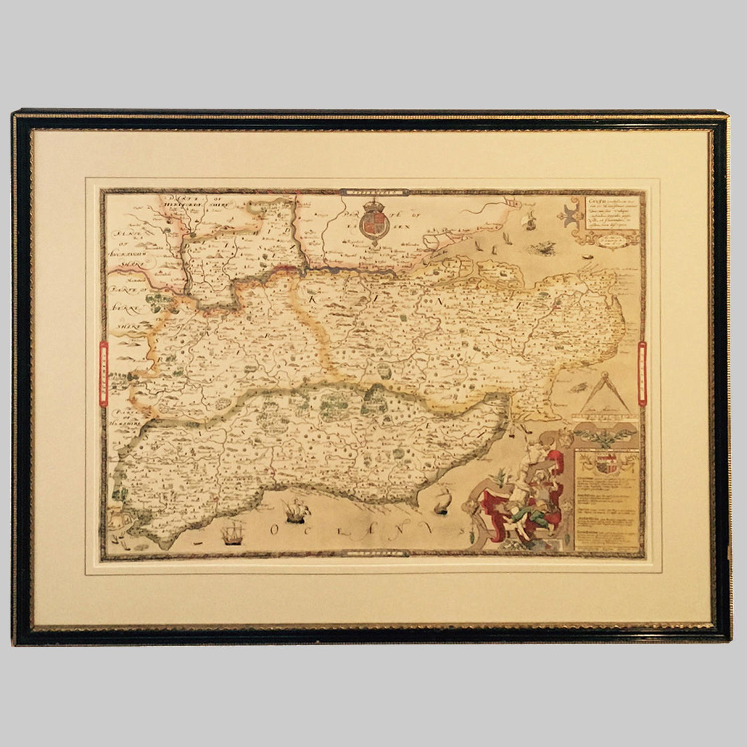 Map of Kent, Sussex, Surrey & Middlesex by Saxton 1575.