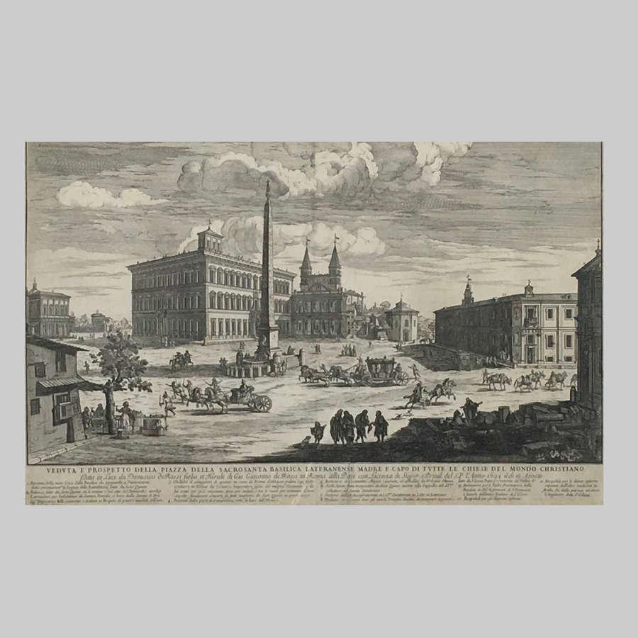 17th century engraving, View of Piazza della Sacrosancta Basilica Rome