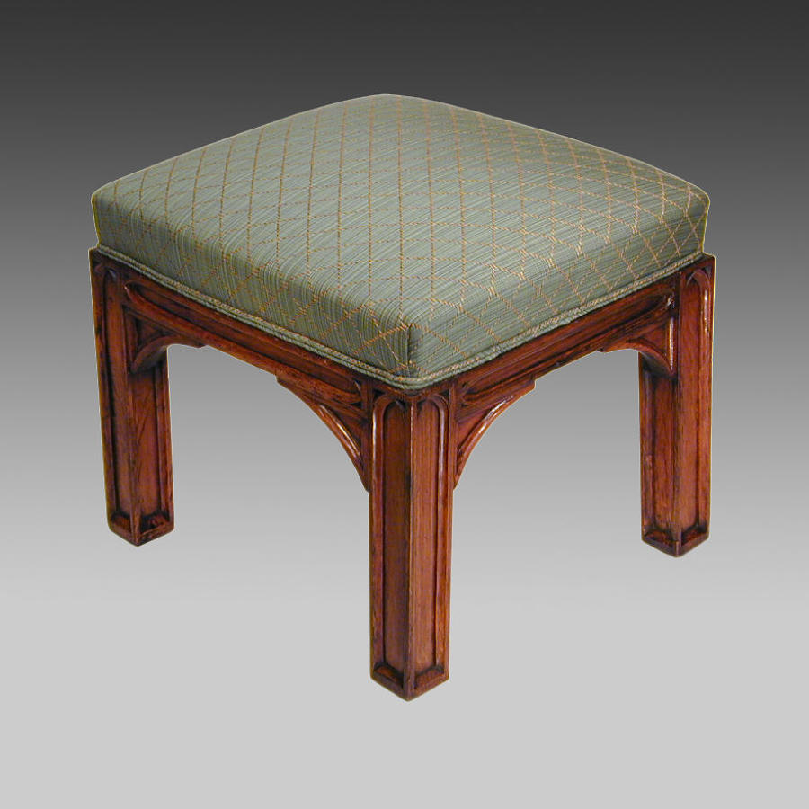 19th century gothic oak stool