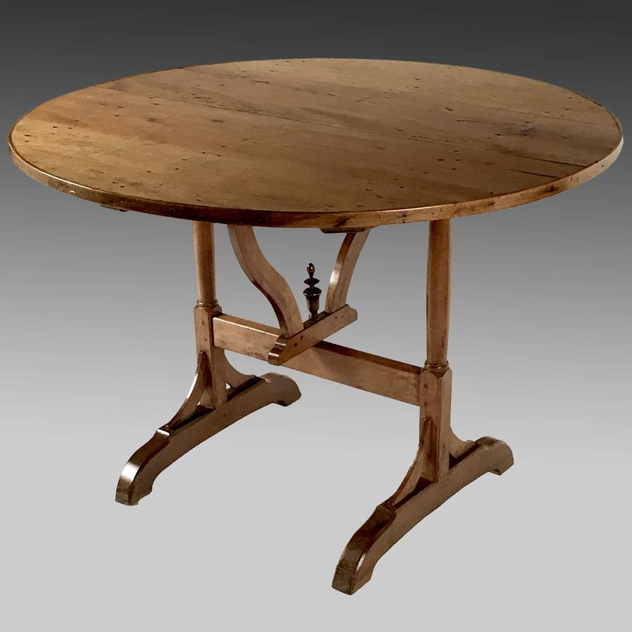 Antique French fruitwood wine tasting table