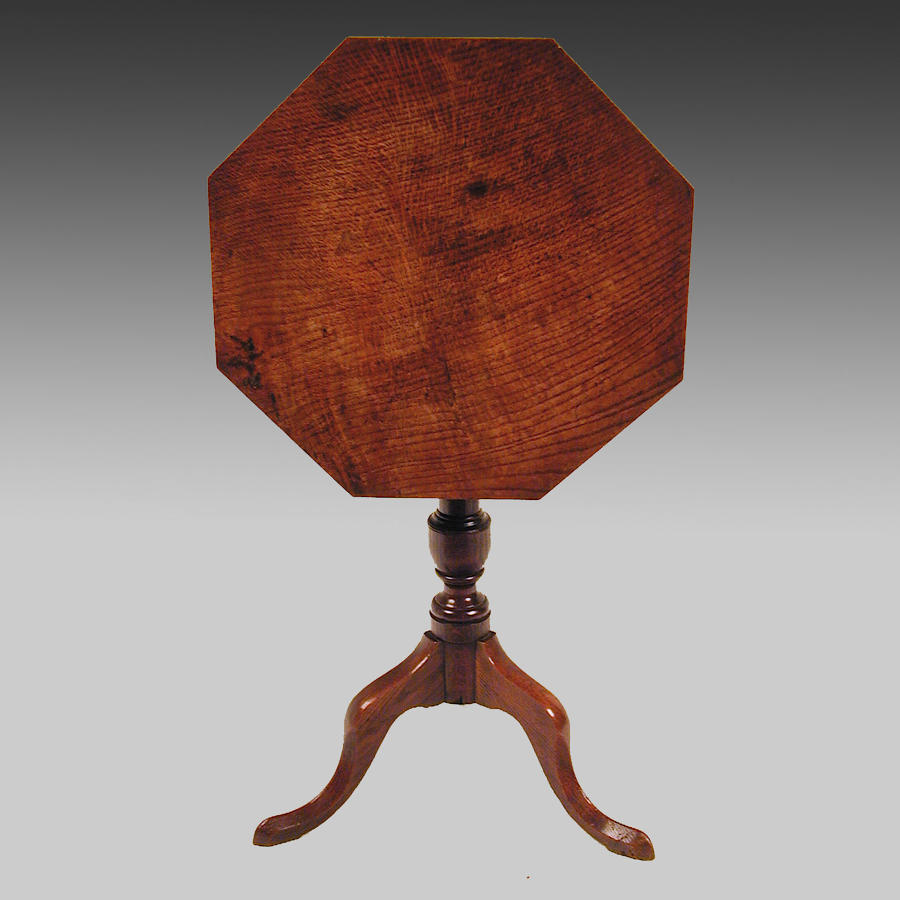 Antique Georgian oak octagonal tripod table