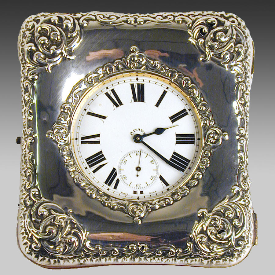 Vintage silver cased travelling timepiece