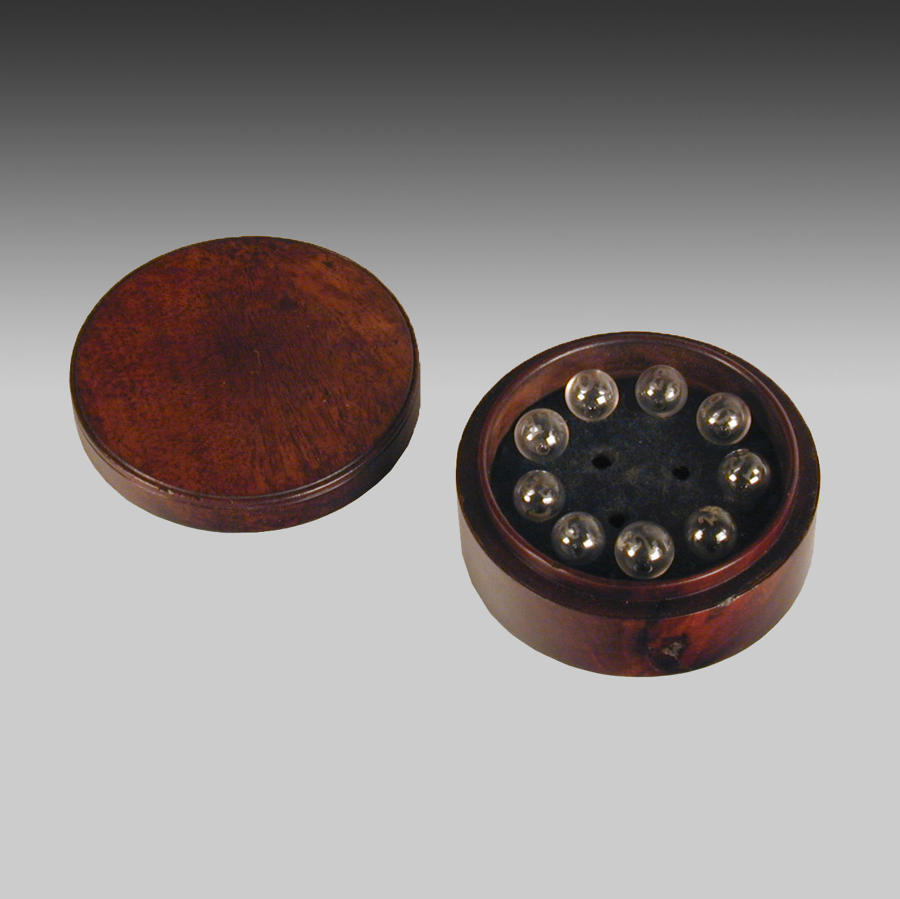 Georgian mahogany cased hydrometer bulbs