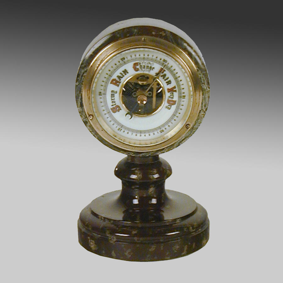 Vintage Cornish Serpentine aneroid barometer