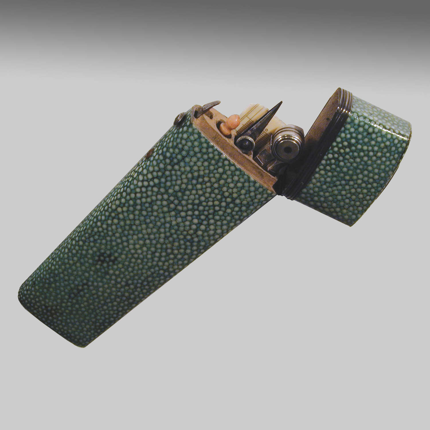 Shagreen cased etui of cartographer's drawing instruments