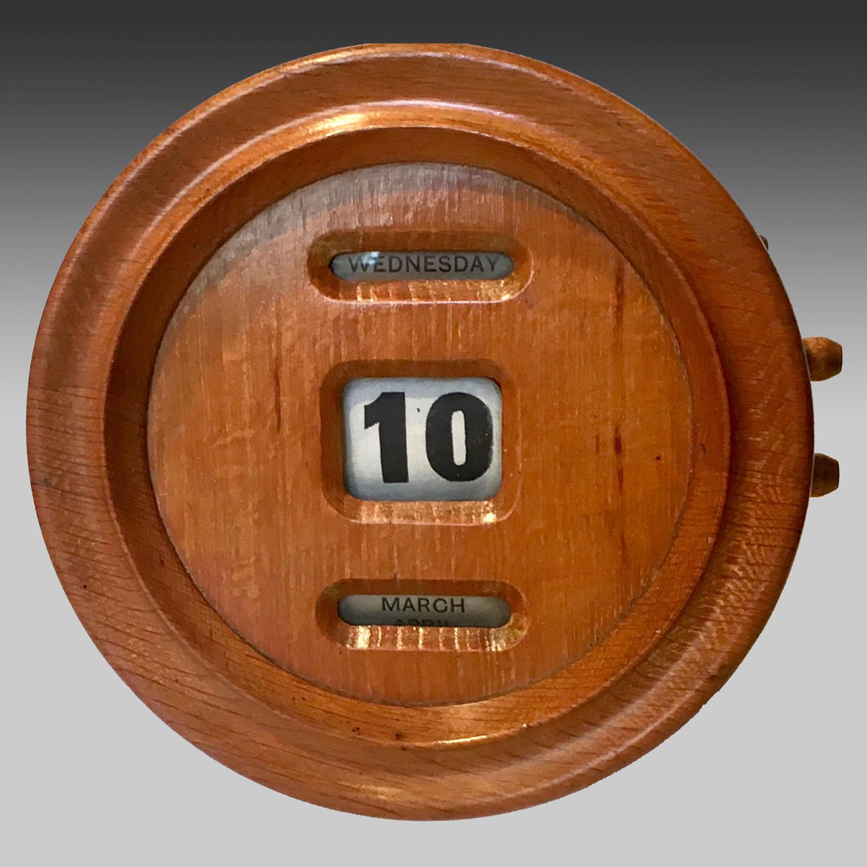 19th century blond oak circular perpetual calendar
