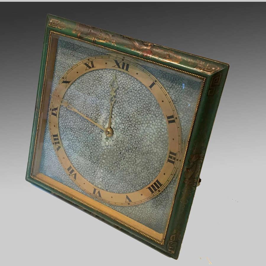 Art Deco shagreen dialled clock