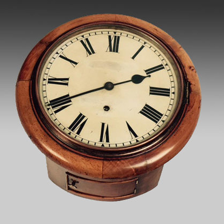 19th century faded mahogany cased wall clock