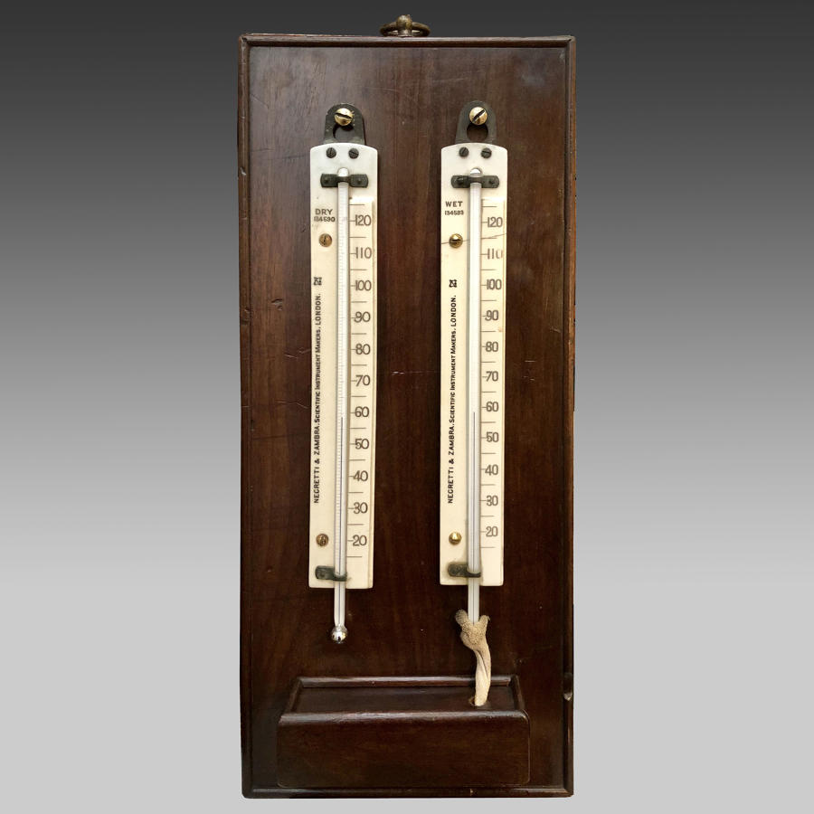 Late 19th century wet and dry thermometer or hygrometer