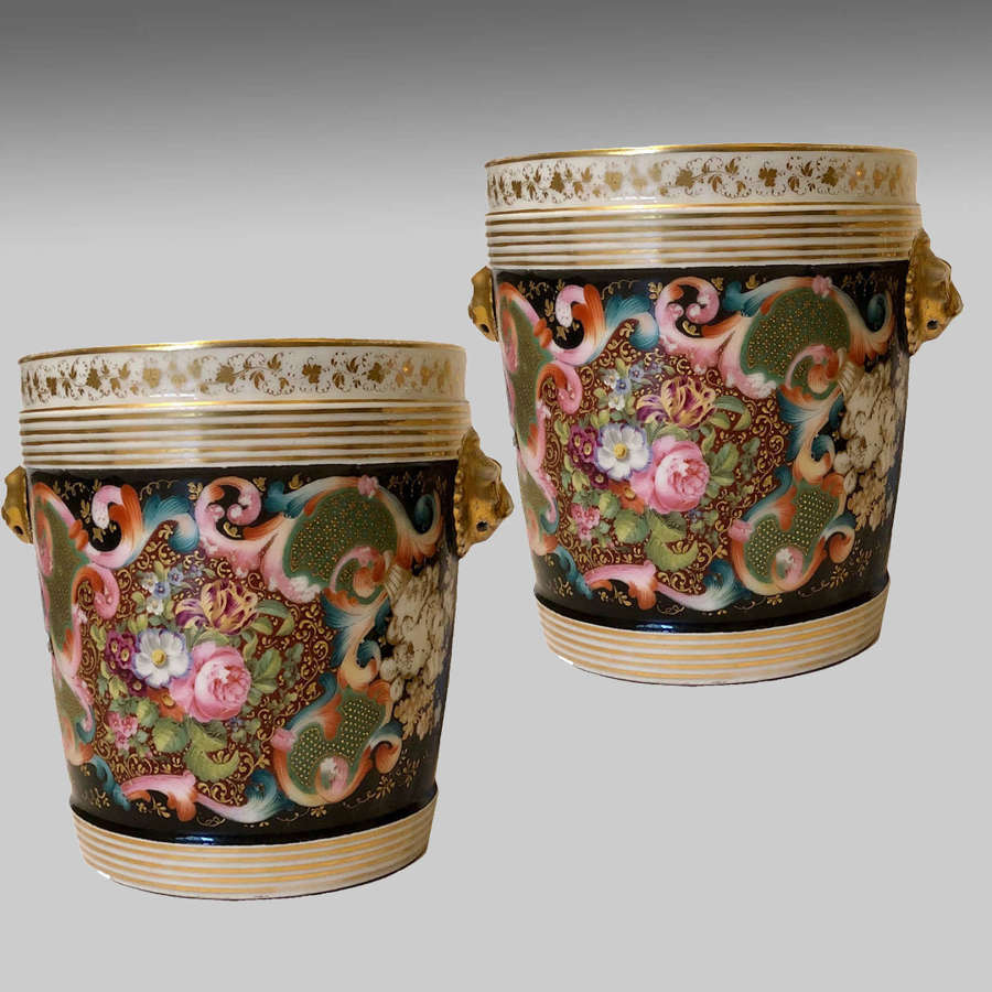 Pair of 19th century French porcelain jardinières