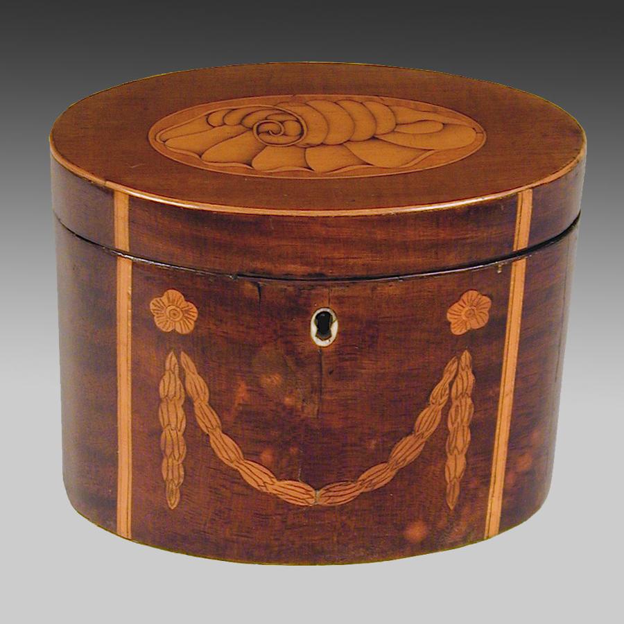 Sheraton inlaid mahogany tea caddy