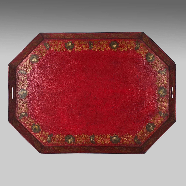 Georgian octagonal scarlet papier maché tray