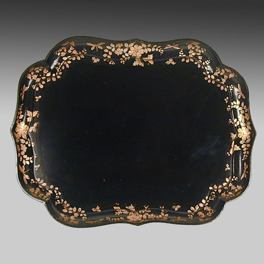 Antique Regency ebonised and gilt papier maché tray