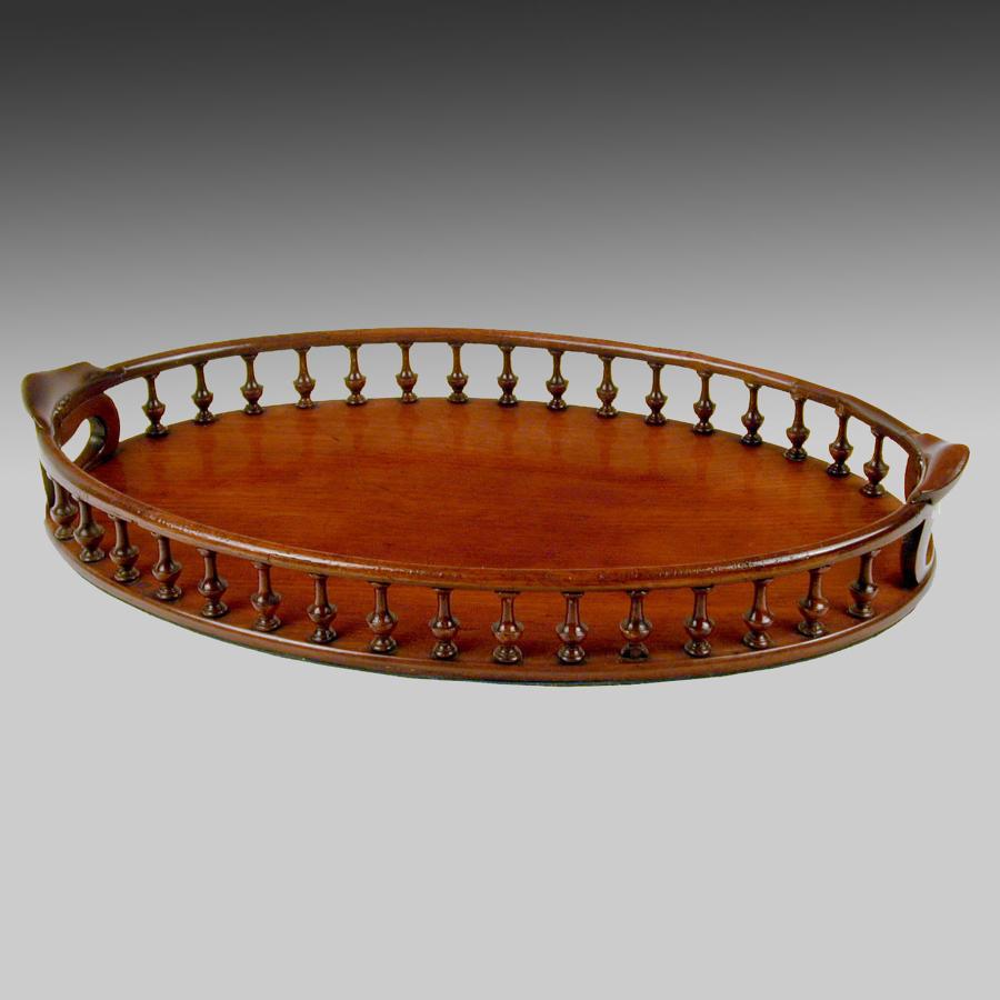 Very fine Georgian mahogany galleried oval tray