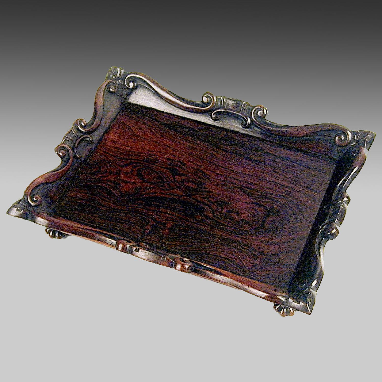 Georgian rosewood card tray