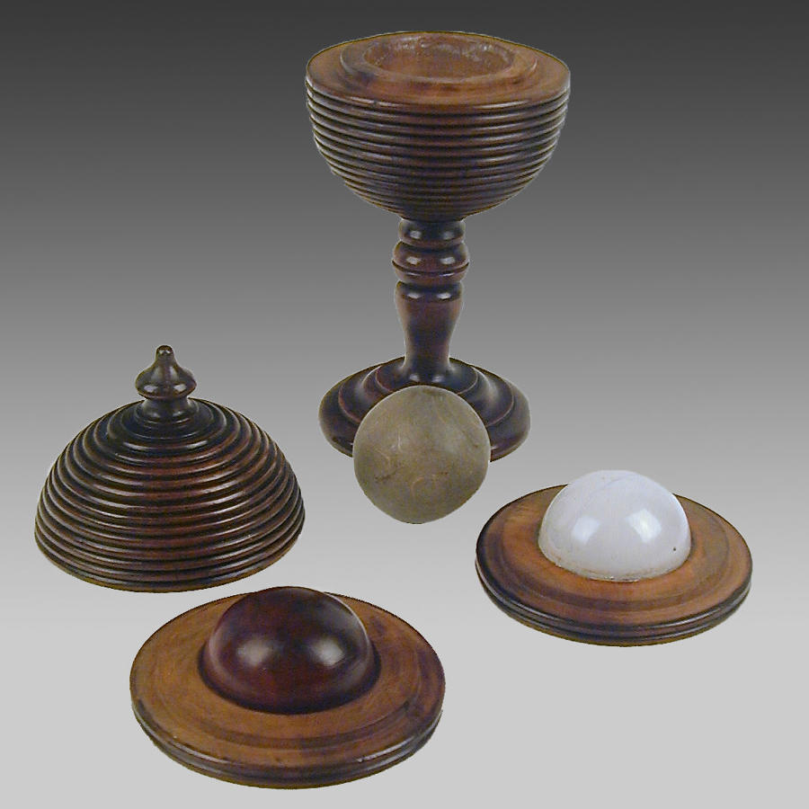 19th century fruitwood cup & cover 'magical' trick game