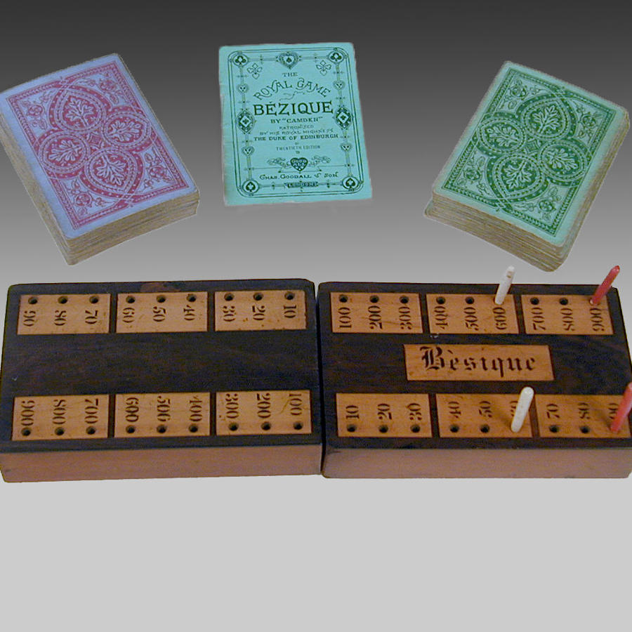 19th century mahogany boxed set of 'Bezique'