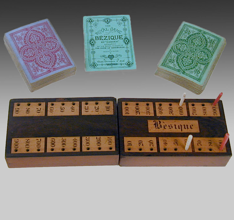 19th century mahogany boxed set of 'Bezique'