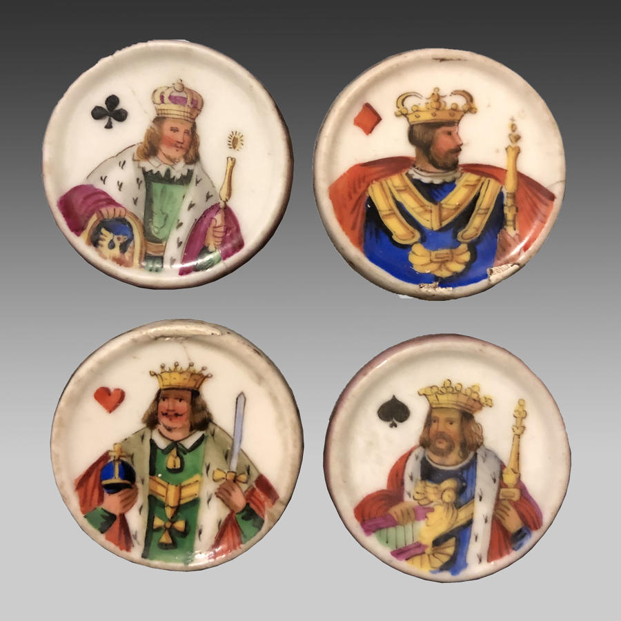19th century set of four porcelain whist markers