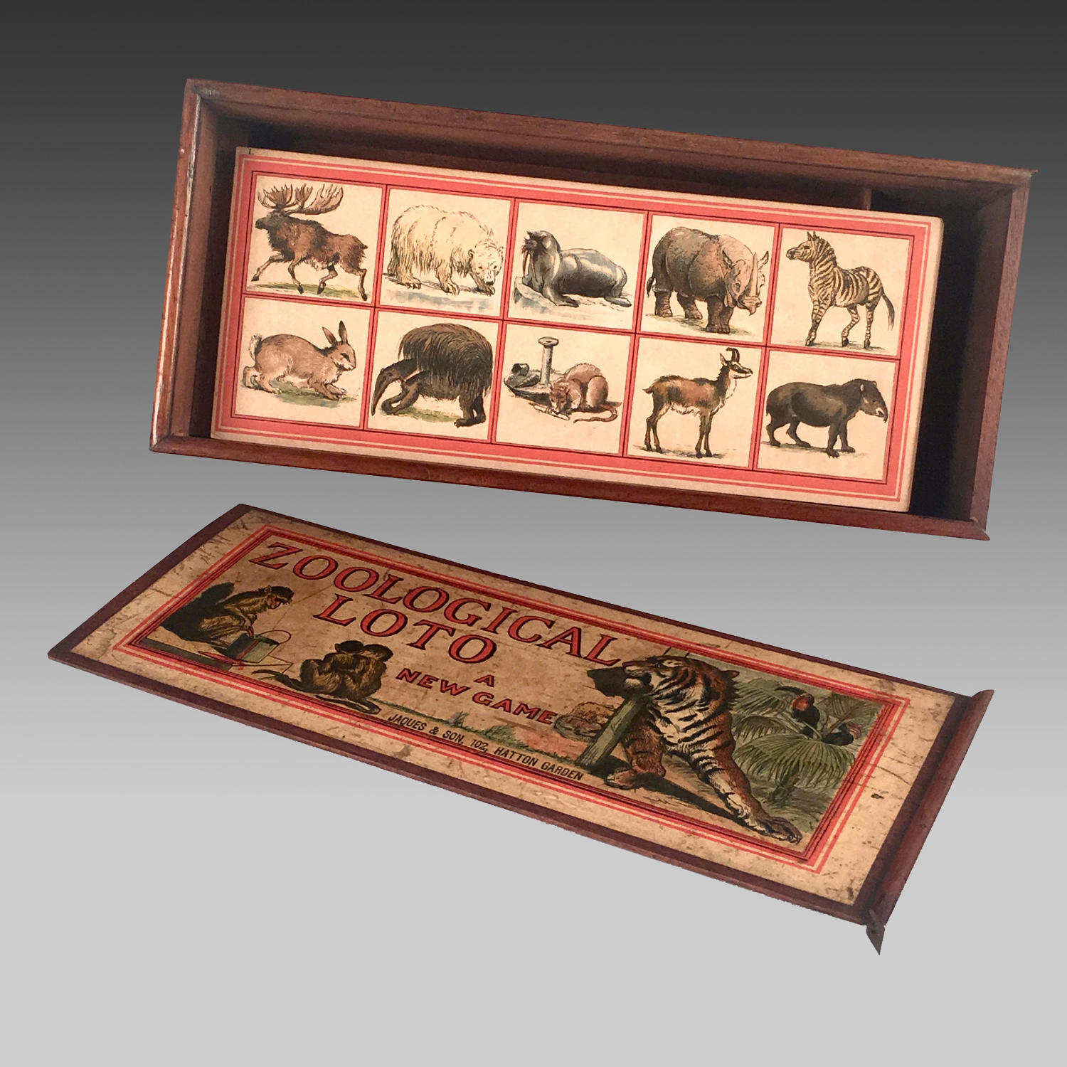 Vintage Jaques game of 'Zoological Loto'