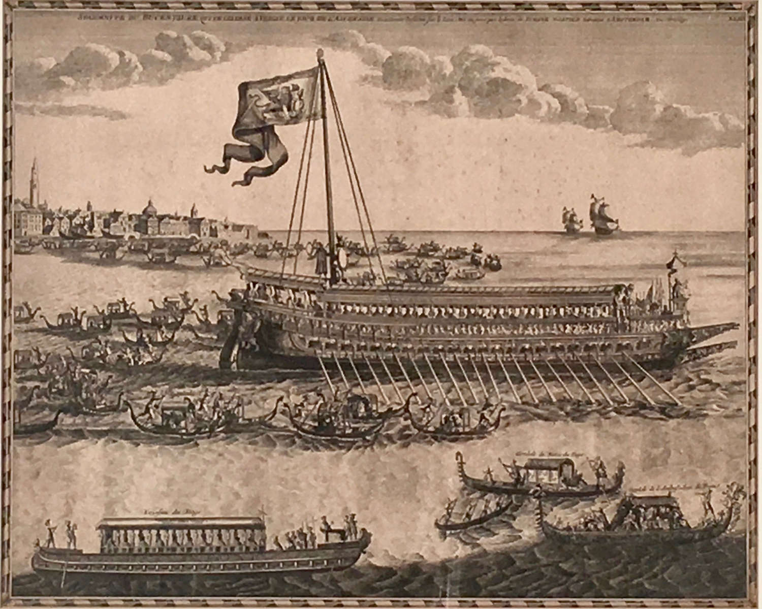 Early 18th century sepia engraving 'The Marriage of the Sea