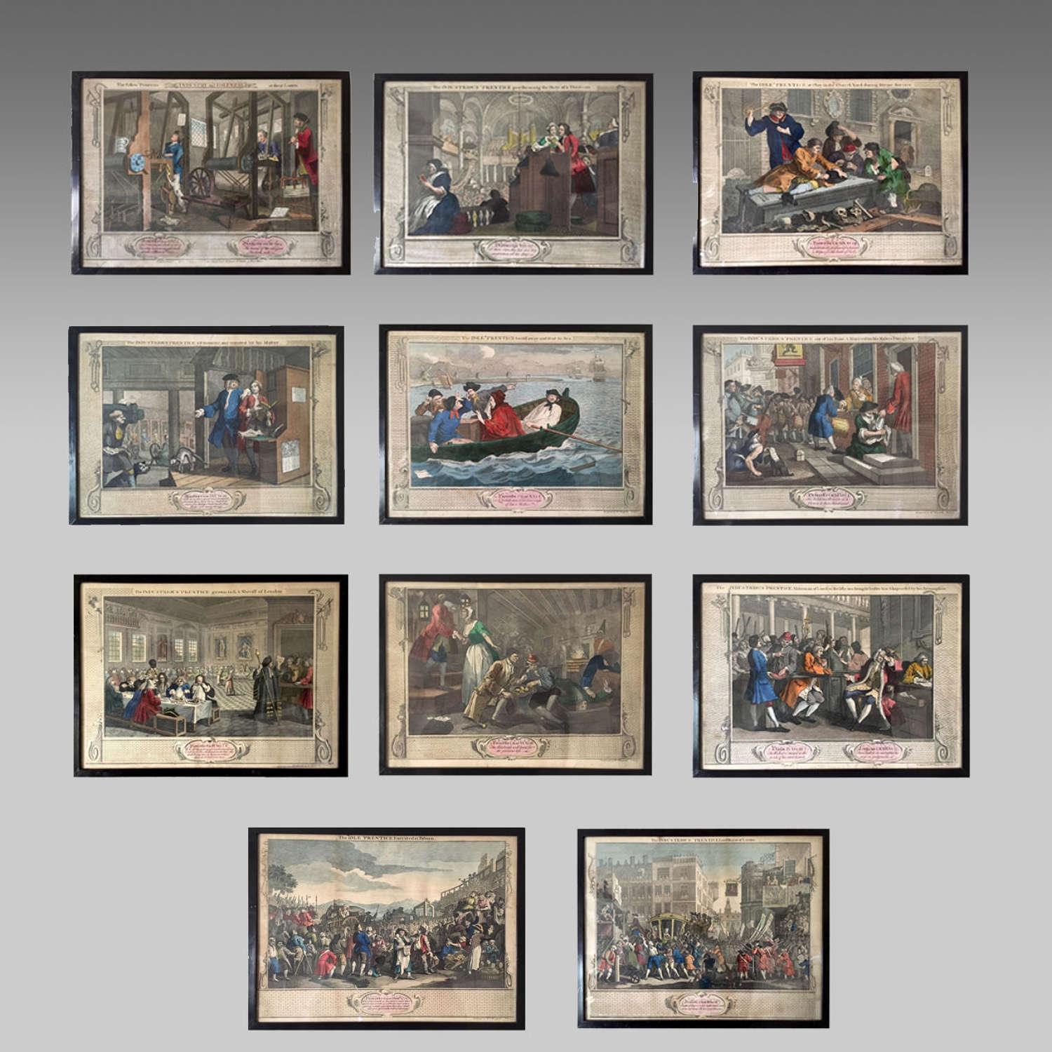 Set of eleven antique coloured engravings by William Hogarth