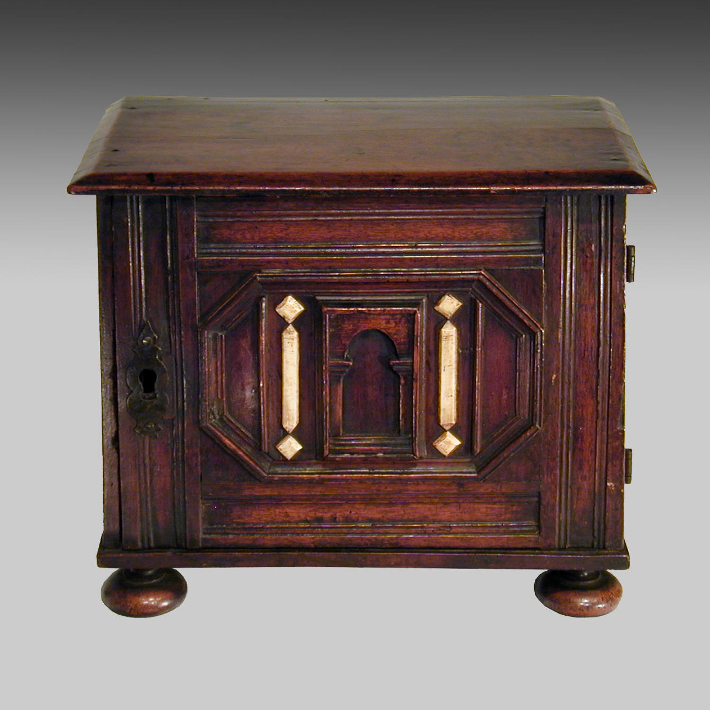 17th century continental walnut spice cabinet