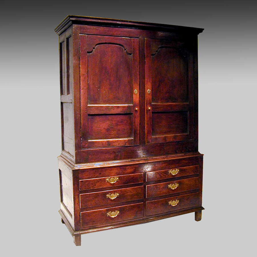 18th century panelled oak livery cupboard